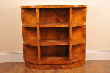 Art Deco Blond Walnut Bokhylle Book