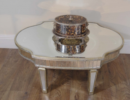 Art Deco Glass Mirrored Coffee Table