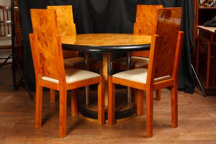 Art Deco Walnut Dining Table Chair Set
