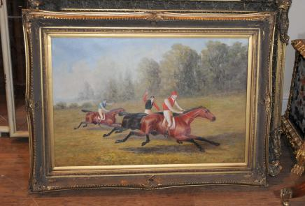 Oil Painting Horse Race Jockey Landscape
