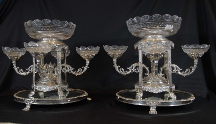 Pair Sheffield Silver PlateD Epergnes