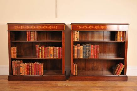 Pair öffnen Sheraton Regency Mahagoni Bücherregale