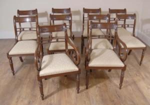 Regency Flor Bar Comedor sillas de caoba