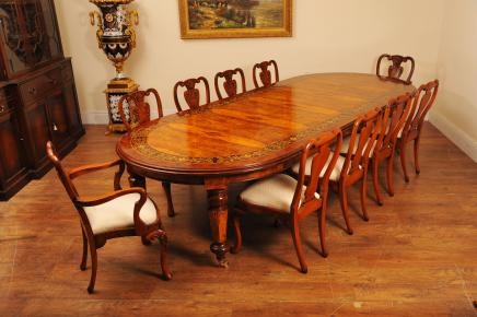 Walnut italienischen Marquetry Dining Table Queen Anne