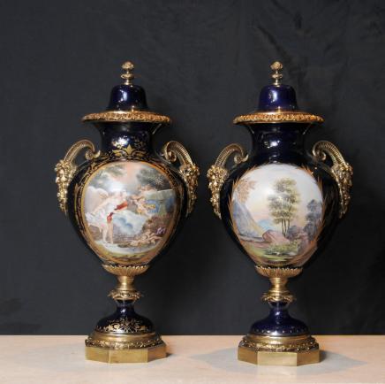 Pair Sevres Porcelain Satyr Cherub Vases Signed Urns Ormolu