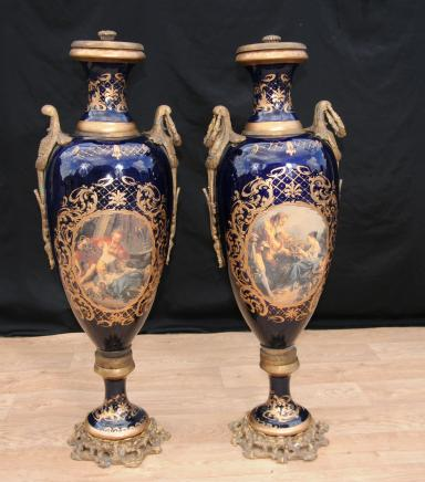 Pair XL Dresden Porcelain Amphora Urns Vases German Pottery