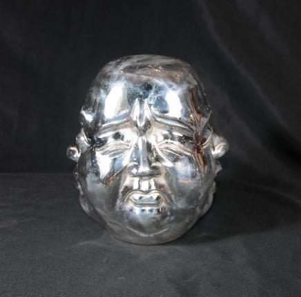 Silver Bronze Buddha Bust Statue Buddhist Buddhism Head Art