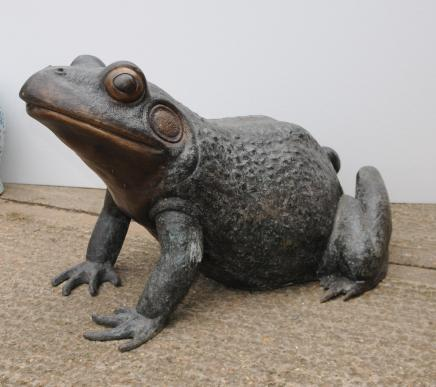XL Bronze Frog Toad Statue Garden Art Animal Statues