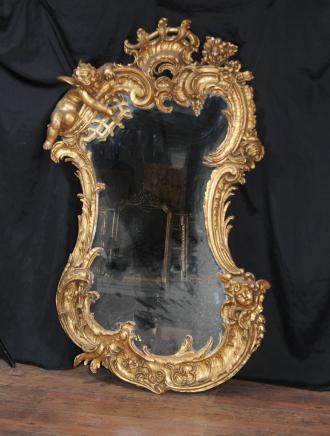 Antique Carved Gilt Mirror Cherub English Rococo Pier Mirrors