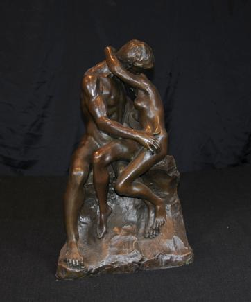 Bronze The Kiss Statue Rodin Male Female Love Figurine