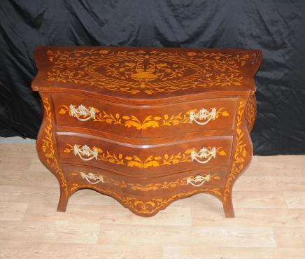 Dutch Marquery Bombe Commode Chest Drawers Inlay Cabinet