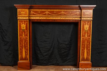 Edwardian Sheraton Fireplace Fire Place Mahogany Inlay