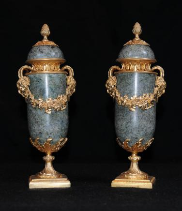 French Empire Marble Gilt Urns Ormolu Campana Urn