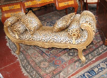 French Louis XV Sofa Bed Chaise Lounge Cheetah Print