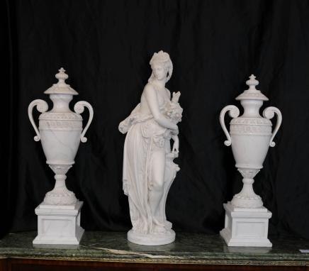 French Marble Urns Figurine by a Carrier Dilettanti