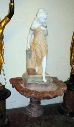 Italian Marble Garden Fountain Female Figurine Font Water Feature