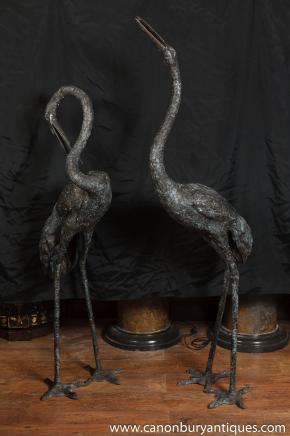Pair Large Japanese Bronze Cranes Crane Bird Garden Statue
