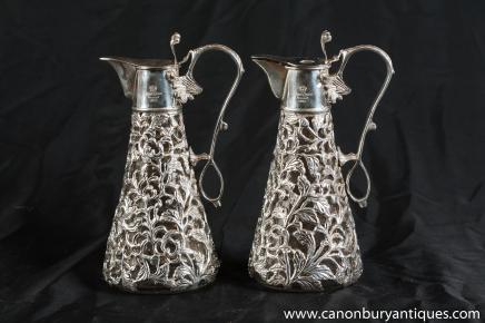 Pair Sheffield Nouveau Silver Plate Decanters Jugs Vases