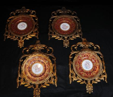 Set 4 French Sevres Porcelain Cherub Wall Plaques Plates