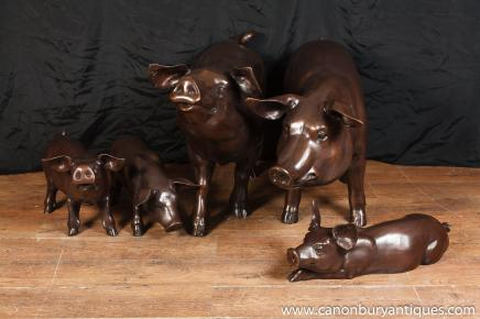 Set Six Lifesize Bronze Pig Family Piglet Pigs Animals Sow