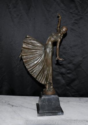 French Art Deco Chiparus Bronze Dancing Girl Figurine Statue