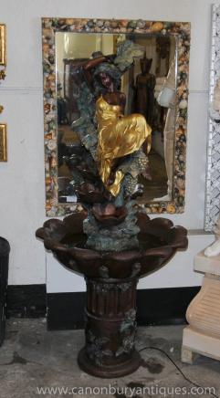 XL French Bronze Art Nouveau Female Bronze Fountain Statue WAter Garden