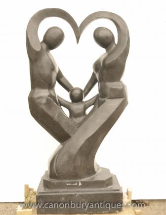 Large Marble Abstract Art Sculpture Family Portrait Modernist Statue