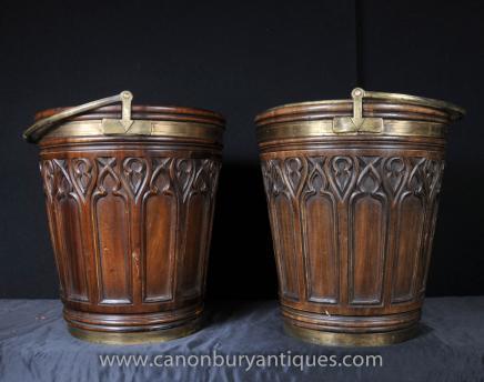 Pair Victorian Gothic Peat Buckets Mahogany Planters
