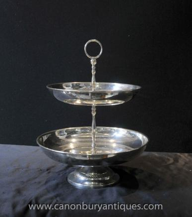 Victorian Silver Plate Two Tiered Cake Stand English Afternoon Tea