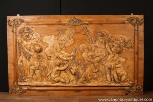 Hand Carved Flemish Pine Cherub Panel Plaque Frieze Architectural Antiques