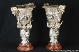 Pair Empire Silver Plate Bronze Cherub Dishes Tureens Statue
