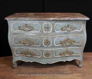 18th Century French Provincial Bombe Commode Chest Drawers Antique Furniture