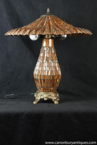 French Art Nouveau Tiffany Table Lamp Glass Shade Light