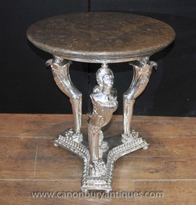 French Empire Silver Plate Side Occasional Table Maiden Legs