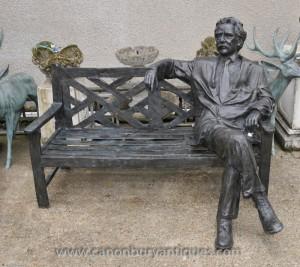 Large Bronze Garden Bench with Lifesize Albert Einstein Statue