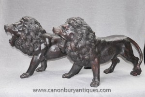 Pair English Bronze Lion Statues Gatekeepers Manner of Landseer