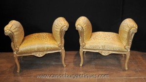 Pair French Louis XV Gilt Stools Seats
