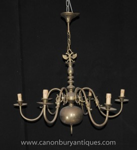 Antique Brass Dutch Chandelier Art Nouveau Light Lamp