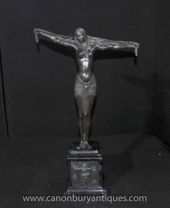 Art Deco Bronze Chiparus Statue 1920s Paris Dancer Semi Nude