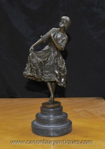 French Art Deco Bronze Female Dancer Figurine by Linet