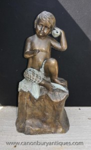 French Bronze Cherub Fountain Statue Conch Putti Cherubim