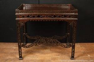 Hand Carved Mahogany Chinese Chippendale Side Table Tables
