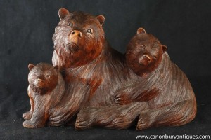 Hand Carved Wood Black Forest Bear Family Statue Brown Bears Cubs