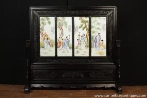 Large Japanese Meiji Porcelain Carved Screen Room Divider