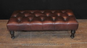 Large Regency Deep Button Leather Stool Seat Ottoman