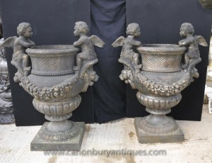Pair XL French Cast Iron Cherub Garden Urns Planters Pots