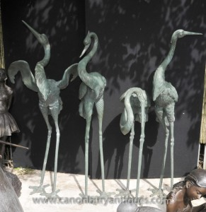 Set 4 Japanese Bronze Storks Birds Stork Crane Flamingo