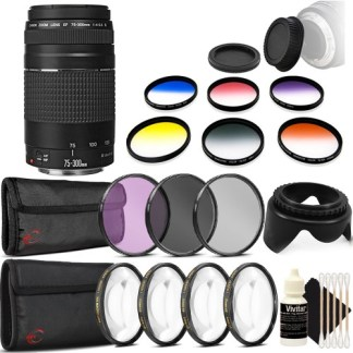 Canon EF 75-300mm f/4-5.6 III USM Telephoto Zoom Lens for Canon EOS Rebel T2i T1i SL1 SL2 with Accessory Bundle