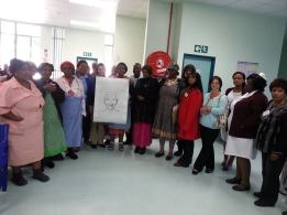 CANSA PMB staff volunteers with oncology patients and staff at Greys Hospital