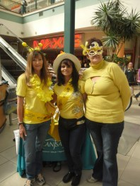 Volunteers Ruby Evrard, Jocelyn Moodley and CANSA Community Mobiliser Silvia at the Alberton City Shopping Centre